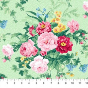 Julia's Garden Green With Large Pink Roses Northcott Cotton Fabric 21607-71