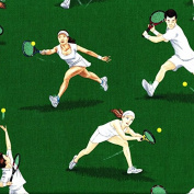 1/2 Yard - Tennis Players in Action on Green Cotton Fabric Design by George McCarney (Great for Quilting, Sewing, Craft Projects, Throw Pillows & More) 1/2 Yard X 110cm