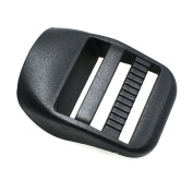 20pcs 2.5cm Webbing Plastic Ladder Lock Slider Buckles Backpack Straps Black