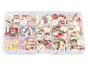 Bestartstore 1Box(225pcs) 15mm Mixed Flower Floral Printing Wooden Craft Buttons 2 Hole Round Button for Scrapbooking Art Crafts DIY Making Sewing Supplies