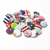 RayLineDo 30pcs Assorted Pattern Linen Cotton Fabric Covered Buttons 2 Holes Craft Sewing Button