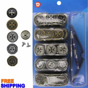 17 mm No-Sew 50 Assorted Jean Buttons w/Setter Tool