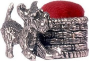 Wentworth Pewter - Terrier and Basket Pewter Pin Cushion - 25mm x 25mm