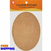 Two Large Sew-On Natural Suede Elbow Patches 12cm x 17cm - Beige