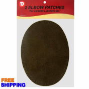 Two Large Sew-On Natural Suede Elbow Patches 12cm x 17cm - Brown