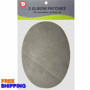 Two Large Sew-On Natural Suede Elbow Patches 12cm x 17cm - Grey