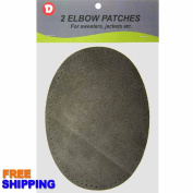 Two Large Sew-On Natural Suede Elbow Patches 12cm x 17cm - Charcoal