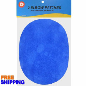 Two Faux-Suede Iron-On Elbow Patches 11cm x 14cm - Royal Blue