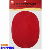 Two Faux-Suede Iron-On Elbow Patches 11cm x 14cm - Red