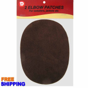 Two Faux-Suede Iron-On Elbow Patches 11cm x 14cm - Dark Brown