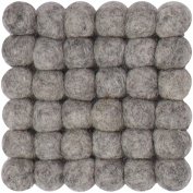myfelt A GU Q/018 009 009 Carl Felt Ball Coaster, Virgin wool, grey, 9 x 9 x 1.5 cm
