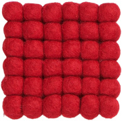 myfelt A GU Q/010 009 009 Cera Felt Ball Coaster, Virgin wool, red, 9 x 9 x 1.5 cm
