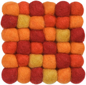 myfelt A GU Q/004 009 009 – Pure New Wool Felt Ball Coaster, Red/Yellow, 9 x 9 x 1.5 cm