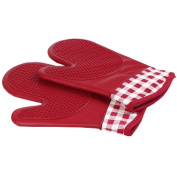 1 Pair Oven Gloves Non-Slip Kitchen Oven Mitts Heat Resistant Cooking Gloves 18x28cm,Red