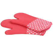 1 Pair Oven Gloves Non-Slip Kitchen Oven Mitts Heat Resistant Cooking Gloves 18x33cm,Pink