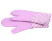 1 Pair Oven Gloves Non-Slip Kitchen Oven Mitts Heat Resistant Cooking Gloves 18x33cm,Purple