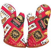 1 Pair Oven Gloves Non-Slip Kitchen Oven Mitts Heat Resistant Cooking Gloves,j