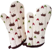 1 Pair Oven Gloves Non-Slip Kitchen Oven Mitts Heat Resistant Cooking Gloves,g