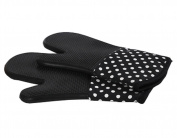 1 Pair Oven Gloves Non-Slip Kitchen Oven Mitts Heat Resistant Cooking Gloves 18x33cm,Black