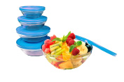 JOCCA Glass Bowl Set with Anti-Drip Lid, Blue, Pack of 5