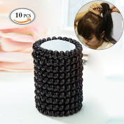 MLMSY Hair Bands Hair Ties 10 Pcs Black Plastic Spiral Elastic Hair Styling Accessories Soft Silicone No Crease No Damage Traceless Hair Ring and Bracelet Headband Ponytail Holders Unisex for Women Men Girl for All Hair Types