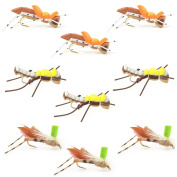 The Fly Fishing Place Grasshopper Trout Fly Fishing Flies Assortment - Foam Body Hoppers - 9 Flies 3 Patterns Hook Size 10 - Trout Fly Collection