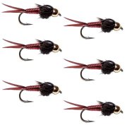 The Fly Fishing Place Bead Head Red Copper John Nymph Fly Fishing Flies - Set of 6 Flies Hook Size 14