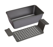 """KitchenCraft Chicago Metallic Professional Non-Stick Meat Loaf Pan with Drip Tray, 28 x 23 cm (11"""" x 9""""), Grey"""