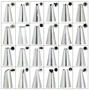 Coscosx 24 PCS Piping Nozzles, Cake Decorating with 24 Icing Nozzles. Stainless Steel Icing Piping Frosting Nozzles, Stainless Steel Dispenser Nozzle Kit For Professional Baking