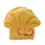 Brilliant Textile Microfiber Hair Turban Quickly Dry Hair Wrapped Towel Bath Yellow