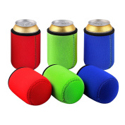 Tagvo Can Sleeves, Insulated Beer Can Sleeve Covers Easy-On Can Cooler Set of 6 -- Assorted Colour, Machine Washable, Durable, Neoprene with Stitched Fabric Edges
