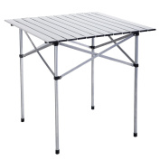 Costway Camping Aluminium Roll Up Table Folding Portable Outdoor Dining Picnic W/ Bag Heavy Duty 70 x 70 x 70