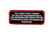 Psalms 23-4 Red Bible Jesus Verse Christian Shadow of Dead Iron on Patch by Miltacusa
