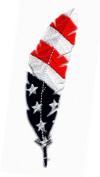 Feather USA Flag Feathers Patriotic Patch Iron on by Miltacusa