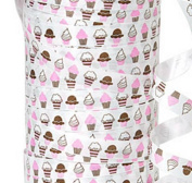 "20YDS of 1cm Pink White Brown ""CUPCAKES"" Bakery Poly Curling Ribbon"
