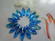 100pcs 26x8mm Navette shape flatback sky blue Crystals sew on Rhinestones Accessories For Hand Sewing gem stone