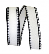 Wire Edged Linen Checked Edge Black and White Ribbon 3.8cm 20 Yards