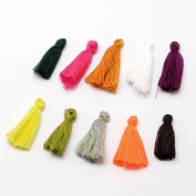 Kissitty 1 Bag MultiColor Tiny Cotton Thread Soft Tassels 25~31x5mm for Earring Bracelet Necklace Jewellery Making