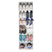 THEE 22 Pockets Clear Over the Door Hanging Shoe Organiser