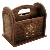 Indian Hand Carved Remote Control Rack with Brass Inlay 3 Compartments Caddy