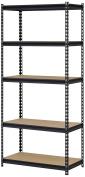 Edsal UR341472BLK Steel Storage Rack, 5 Adjustable Shelves, 1450kg. Capacity, 180cm Height x 90cm Width x 36cm Depth, Black