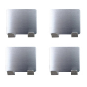 iModen Brushed Stainless Steel Strong Self Adhesive Multi Purpose Sticking Wall hooks -Silver