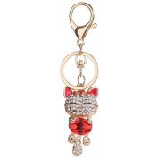 Ecurson Rhinestone Alloy Cat Sparkling Charm Keychain Bag Handbag Key Pendant Gift For Kids Girls