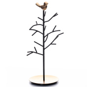 Ikee Design Black Metal Jewellery Branches Stand Rack with A Bird Decoration for Rings Necklaces Bracelets