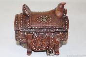 Western Cowboy Cowgirl Lone Star Hand Tooled Leather Saddle Trinket Jewellery Box Rusic Home Decor