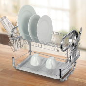 Modern Kitchen 60cm Stainless Steel 2-Tier R Shaped Dish Drying Rack and Draining Board - Organised Utensil Holder, Mug Dryer, Fits Large Plates, Travel Mugs, and More - Quick Dry with Drip Tray
