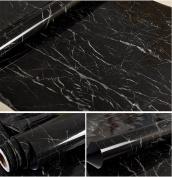Faux Black Marble Contact Paper Self Adhesive Film Vinyl Granite Shelf Liner for Covering Counter Top Kitchen Cabinet Backsplash