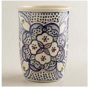 Ceramic Utensil Crock, Utensil Holder - Hand Crafted and Hand Painted North African Design Blue and white.