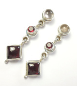 Beautiful Things For Women Garnet and Rose Quartz Gemstone Stamped 925 Sterling Silver Earrings