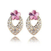 """'Bungsa """"Blossom Gold Earrings For Women – One Pair in Pink and Clear Crystal Stud Earrings Set With Leaf-Shaped Earrings Women Gold – Studs Earrings Crystals Pink Flower"""